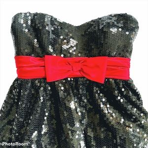 SHIMMER BY BARI JAY Strapless Mini Sequin Dress